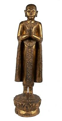 18th Century Antique Burmese Wood Devotee Disciple of Buddha Statue - 93cm/37""