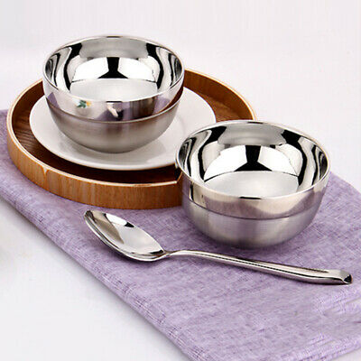 Stainless Steel Double Walled Bowls Soup Serving Bowl Home Restaurant 12x8cm
