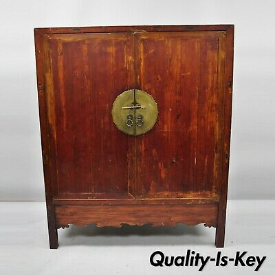 Antique Asian Red Lacquer Oriental Chinese Wedding Cabinet