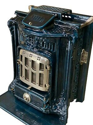 French Cast Iron & Porcelain Stove Beautiful Cobalt Blue, 19th Century
