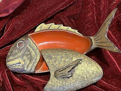 """Antique Chinese Lacquer Fish Box. Red with gold hand painted scales. 11"""""""