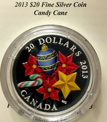 Canada 2013 $20 Pure Silver Murano Glass Candy Cane Proof Coin only.$150. J348
