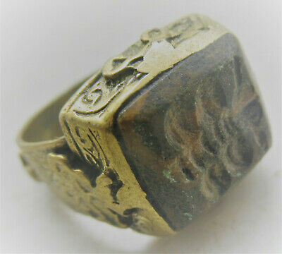 Beautiful Post Medieval Islamic Ottomans Gold Gilded Seal Ring With Agate Stone
