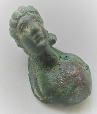 Circa 200-300Ad Ancient Roman Bronze Bust Of Diana European Finds, Rare