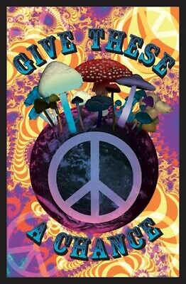 "Mushroom Plant Give These A Chance Black Light Poster - 23""X35"" Flocked Trippy"