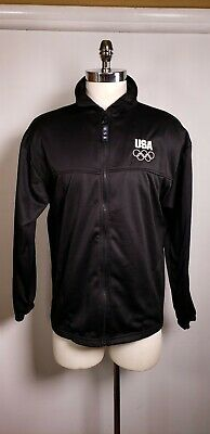 Official USA Olympics Athletic Zip Up Jacket - XL - Black Made in USA Track Suit