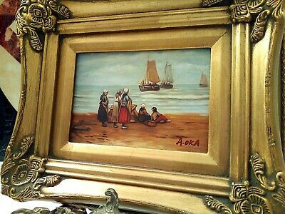 Gold Leaf Framed Ornate Oil Painting of Boats Off Seaside People On Shore Signed