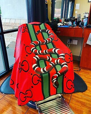 "Barber hair cutting and styling cape 55""X60"" Red (buttons)"