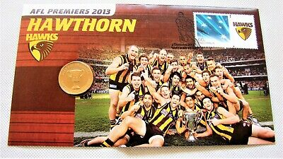 2013 HAWTHORN HAWKS AFL PREMIERS uncirculated $1 + stamp PNC. Only 13,000 made!