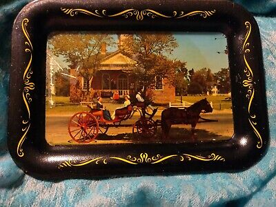 Vintage Tin Litho Tole Tray Colonial America Historical Horse Ohio Art Co