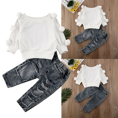 AU Toddler Kid Baby Girl Knit Top T-shirt +Denim Pants Clothes Winter Outfit Set