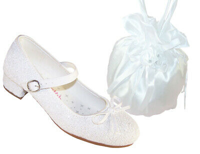 Girls Children White Low Heeled First Holy Communion Bridesmaid Shoes Dollybag