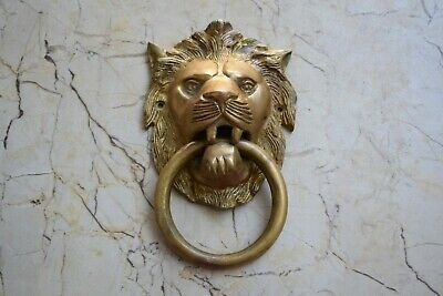 Vintage Lion Knocker Handle Victorian heavy brass door gate Chest Ring Pull