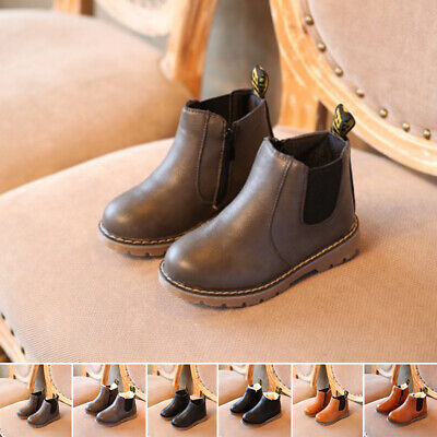 Heel Shoes Casual Warm Girls Kids Ankle Sole Winter Low Boots Boys Flat Outdoor