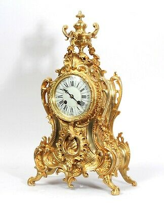 Stunning Antique French Gilt Bronze Rococo Clock by A. D. Mougin C1890