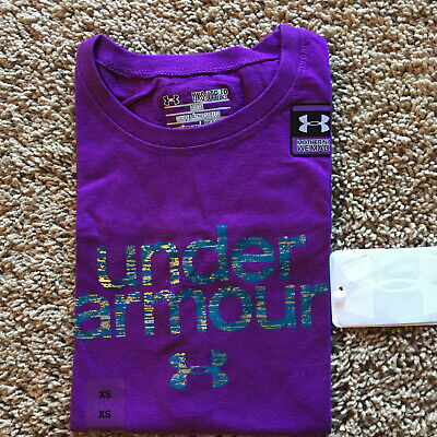 New Under Armour Youth Girl Heatgear Charged Cotton Loose Logo T-shirt Purple L