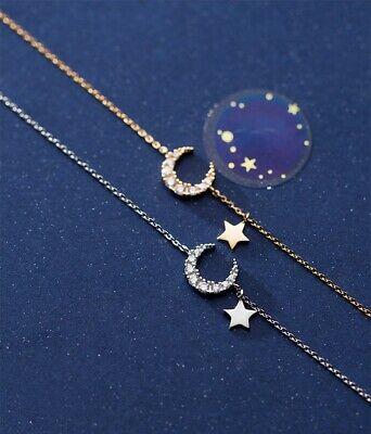 Sweet Women Moon Star Crystal Pendant Choker 925 Solid Silver Necklace Chain