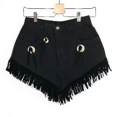 Vintage Western Black Denim High Waist Cut Fringe Hem Silver Accent Jean Shorts