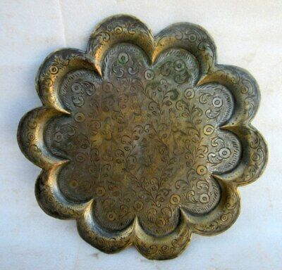 Indian Art Flower And God Figure Tray Plate Old Rare Hand Carved  Antique Brass
