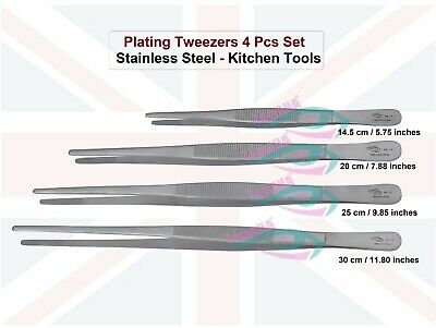 Plating Tweezers 4 Pc Set/Tongs Serving/Stainless Steel/Kitchen Tools/Chef/Food