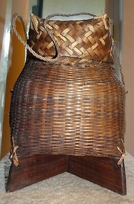 Vtg Chinese Wedding Basket Woven Bamboo With Handle & Lid 10""