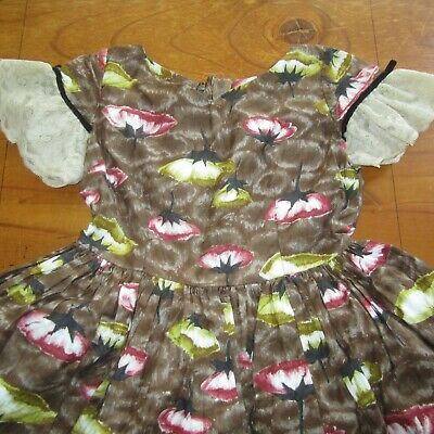 Vintage Girls Party Dress Full Skirt Petticoats Brown Floral Fabric 1950s s