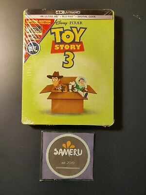 New Toy Story 3 4K Ultra Hd + Bluray + Digital Code Limited Steelbook Sealed !