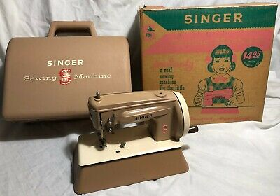 Vintage 1950's Singer Sewing Machine with Carrying Case & Original Box Free Ship