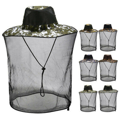 Mosquito Hat Net Head Protector Bee Bug Mesh Insect Mozzie Fishing Fly -Outdoor
