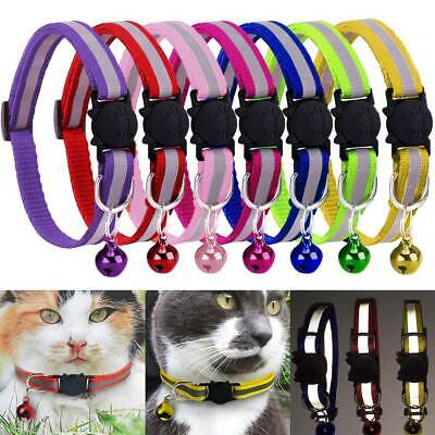 2X Safety Kitten Cat Pet Adjustable Release Reflective Collar Bell Personalised