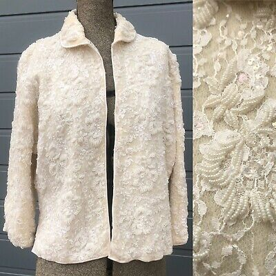Vintage 1950s Beaded Sequinned Lace Over Wool Knit Cardigan Size M