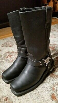 Milwaukee Black Leather Rear Zip Harness Motorcycle Boots #Mb210 Men's Size 8D