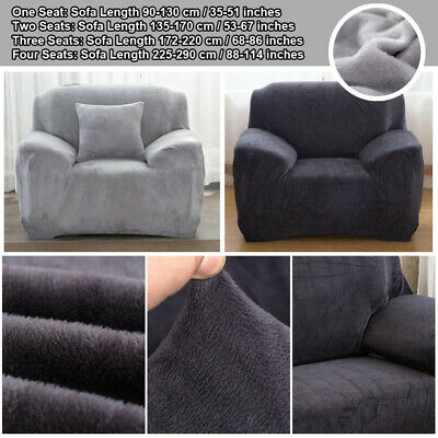 Plush Velvet Easy Fit Stretch Sofa Slipcover Protector Couch Cover 1-4 Seater AU
