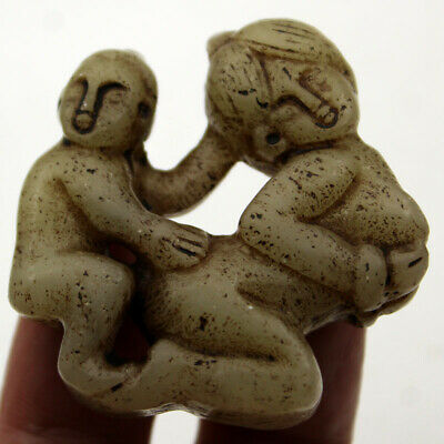 P556 Ancient Chinese HongShan Culture Old Jade Man Woman Art Amulet Pendant 1.9""