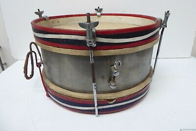 Antique Drum - Marching / Jazz Band - Wooden Frame Metal Drum Snare - Art Deco