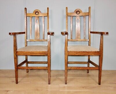 Pair of Oak Arts & Crafts Chairs, nationwide delivery available