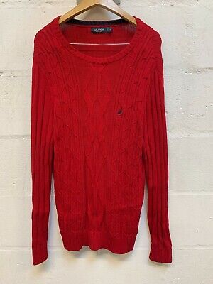 Vintage NAUTICA Red Cable Knitted Jumper XL Fisherman Pullover Casual Sweater