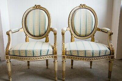 Set of 2 Antique French Louis XVI Style Armchairs, Great Gilt & Carved Wood,Rare
