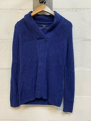 Vintage NAUTICA Blue Cable Knitted Jumper M Fisherman Pullover Casual Sweater