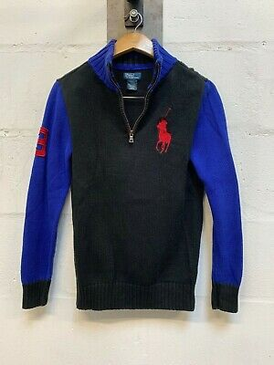 Boy's L 14-16 POLO RALPH LAUREN Black Blue 1/4 Zip Neck Pullover Jumper Sweater
