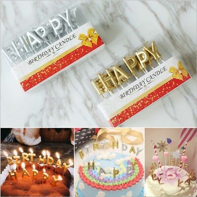 Happy Birthday Letter Candle Children Kids Party Top Cupcake Cake Topper Decor