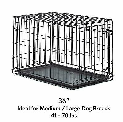 """Pro Metal Cage Large Homes Pets Dog Single Door Folding Crates Small Puppy 36"""""""