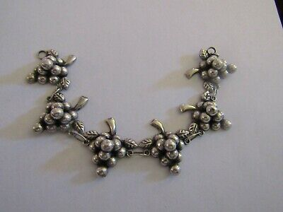 Antique Victorian Edwardian Sterling Silver Leaves And Grapes Bracelet 1900,S