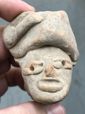 Nice Large Pre-Columbian Clay Human Effigy Pottery Head Face Statue Idol Doll