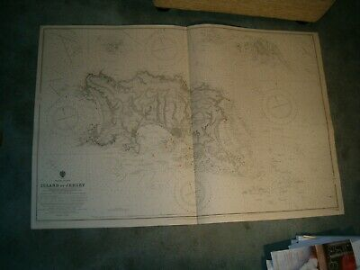 Vintage Admiralty Chart 3367 ISLAND OF JERSEY 1914 edn