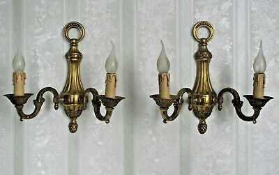 Splendid Pair Large Vintage French Brass Empire Style Double Wall Sconces 1653