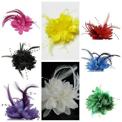 Flower Feather Bead Corsage Hair Clips Fascinator Bridal Hairband and pin for wo