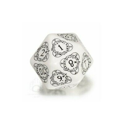 Beige with Black Etches Q-Workshop CG Level Counter D20 Dice