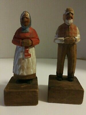 Hand Carved Painted Wooden Couple - Man & Woman Bourgault? Toussaint? Vintage