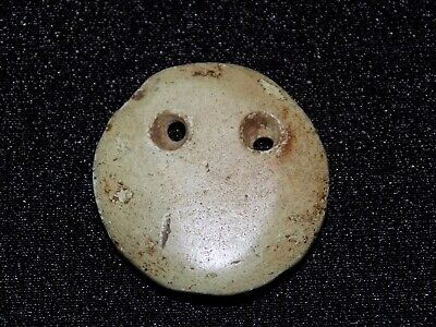 Pre-Columbian Carved Jade Round Disc Pendant Bead, Central America